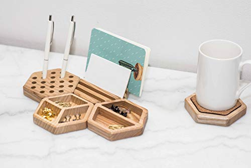Organizador de escritorio de madera para oficina, color madera Set of 5