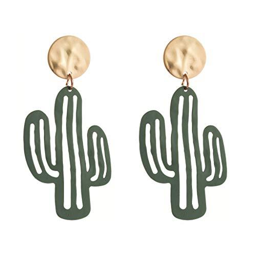 WOWOWO Lovely Desert Green Plant Cactus Pendientes Colgantes Joyas