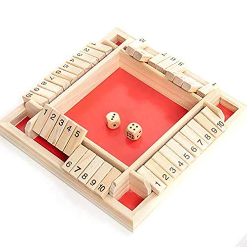 Juego mesa de madera Shut The Box para 4 jugadores, juguete clásico de tablero...
