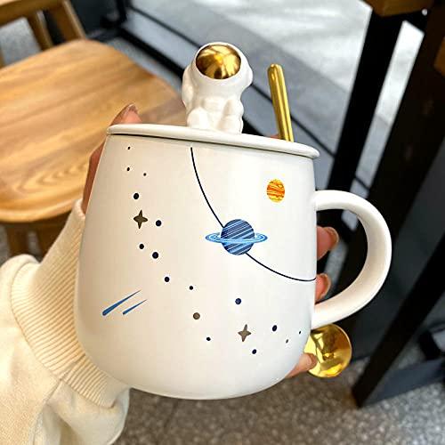 Taza de astronauta de dibujos animados con tapa y cuchara Taza de cerámica taza...