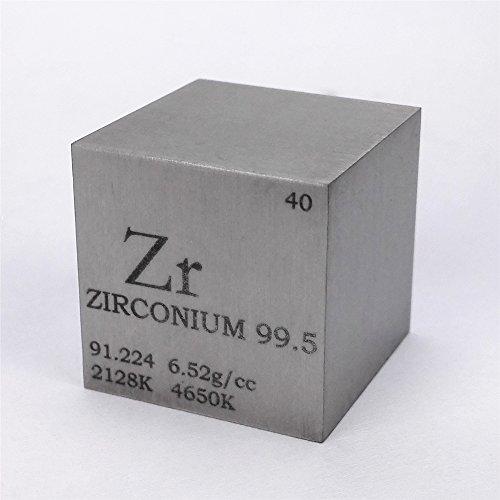Cubo de metal de circonio de 25,4 mm, 99,5 % 107 g, tabla periódica grabada