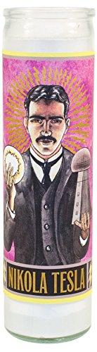Unemployed Philosophers Guild Nikola Tesla Secular Saint Candle - 8.5 Inch Glass...