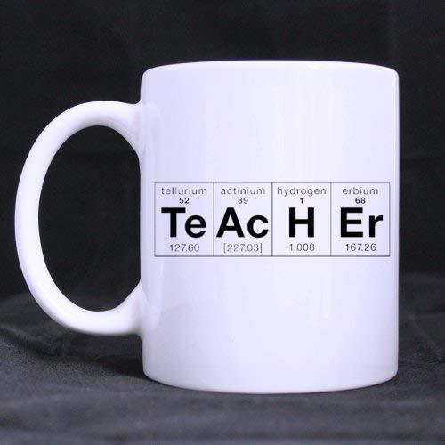 Taza de cerámica blanca con diseño de elementos químicos Te Ac H Er de...