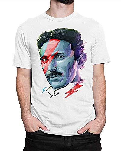 Dazzle T-shirt Hombres Nikola Tesla Ziggy Stardust Colorful Face Camiseta