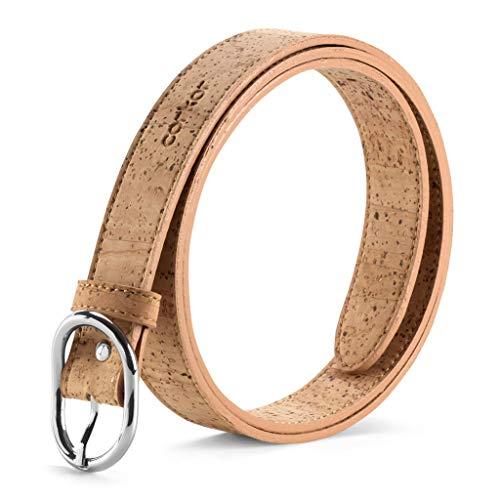 Corkor Cinturón para Mujer Con Hebilla Plateada Vegano de Corcho