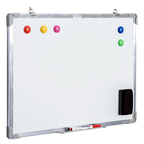 HOMCOM Pizarra magnetica blanca de 60 x 45cm con 10 imanes + 1 borrador + 4...