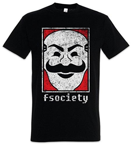 Urban Backwoods Mr. Fsociety Logo Camiseta De Hombre T-Shirt Negro Talla M