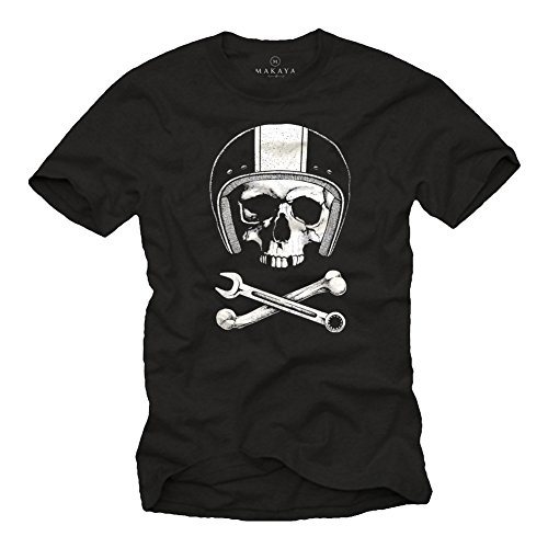 MAKAYA Calavera con Casco - Camiseta Motocross - Hombre Negra XXL