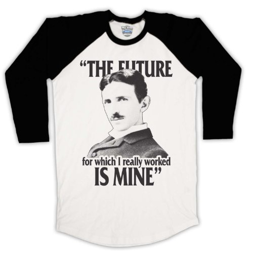 My Icon Art & Clothing Nikola Tesla The Future Is Mine 3/4Hulse Retro...