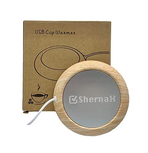 Shernax Placa usb para mantener caliente taza de cafe con el ordenador (Madera...