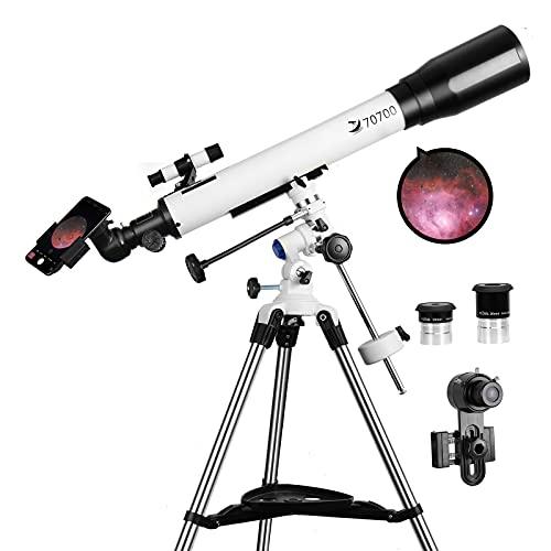 Telescopios para adultos, 70 mm de apertura y 700 mm de longitud focal...