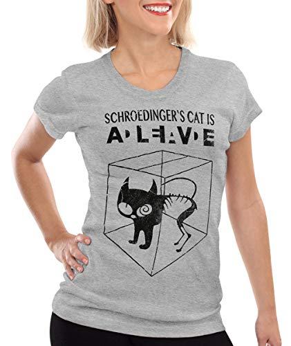 style3 Gato de Schrödinger Camiseta para Mujer T-Shirt, Color:Gris Brezo,...