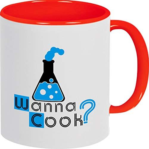 Café Pott ambos lados con diseño estampado Wanna Cook? Tubo de ensayo (Test...