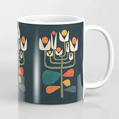 Taza de café retro botánica, taza geométrica, taza de botánica, árbol de...