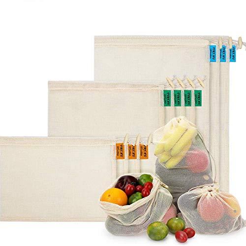 Bolsas de Malla Reutilizables, Bolsas de Comestibles 10 Piezas Bolsas de...