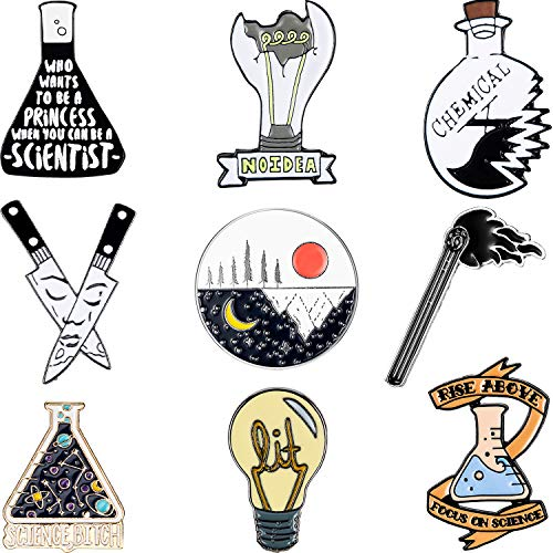 WILLBOND 9 Piezas Broches Químicos Alfileres de Ciencia Dibujos Animados Juego...