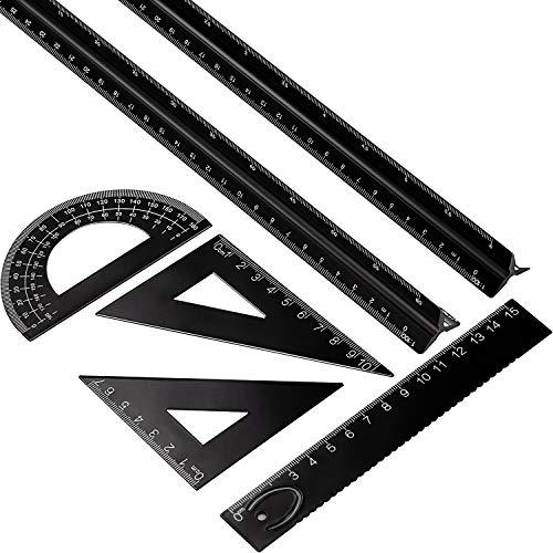 Conjunto de Regla Arquitecta Triangular de Aluminio de 6 Piezas, 2 Piezas de...