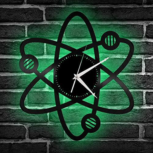 MHUI átomo de la Ciencia Reloj De Pared de Vinilo LED RGB de Control...