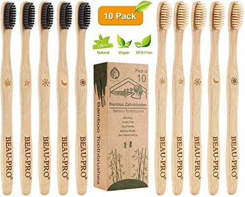 Cepillo Dientes Bambu, Paquete de 10 Cepillos de Dientes, 5 cepillo de carbón...