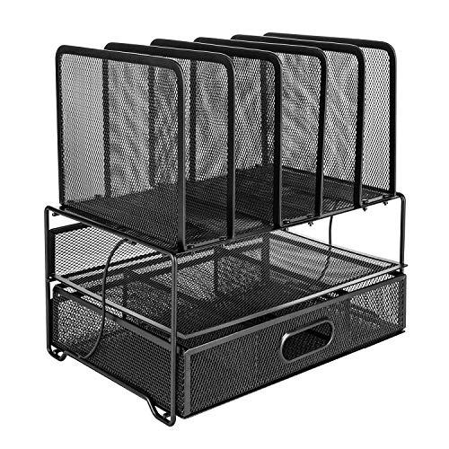 Amazon Basics - Organizador de escritorio de malla con cajón deslizante, doble...
