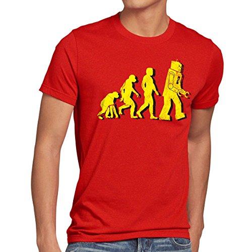style3 Robot Evolución Camiseta para Hombre T-Shirt Sheldon, Talla:S;Color:Rojo