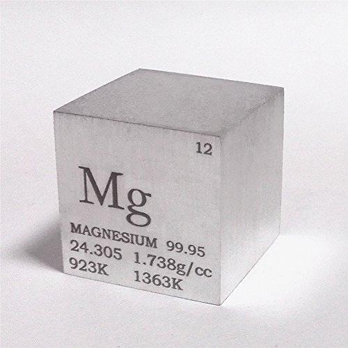 Cubo de metal de magnesio de 25,4 mm, 28 g, 99,95% grabado, tabla periódica