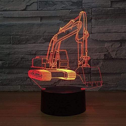 Lámpara de ilusión 3D Excavadora Lámpara de 7 colores Luces de noche LED...