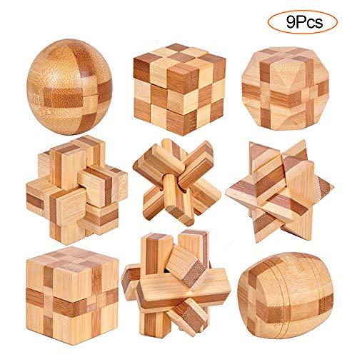 YGZN 9 Piezas Cubo Rompecabezas 3D de Madera del Enigma Juego Puzle - IQ Juguete...