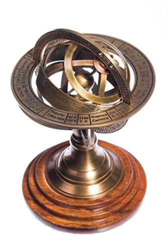 Sphère armillaire latón y madera astrologie steampunk globe