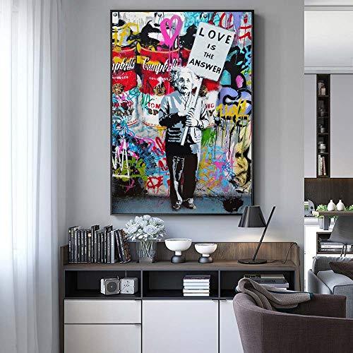 NIMCG Arte Color Graffiti Lienzo de Pared impresión Moderno Abstracto Einstein...