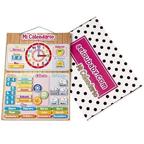 aeioubaby.com Calendario Reloj Magnético Infantil, Juego Educativo Fecha Tiempo...
