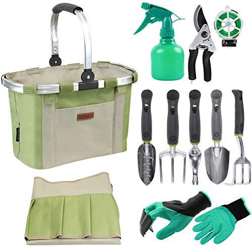 Bolsa sólida para herramientas de jardín con 11 herramientas de mano, el mejor...