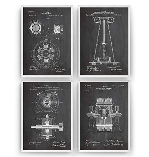 Tesla Poster de Patente - Conjunto de 4 Impresiones - Nikola Tesla Patent Print...