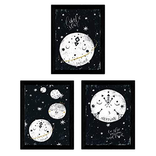 Nacnic Set de 3 láminas de Luna y Planetas,en tamaño A4, Poster Papel 250 gr....