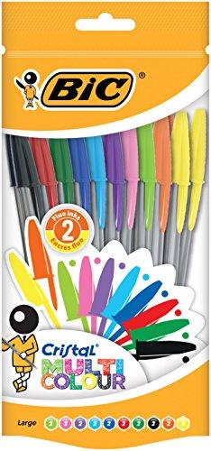 BIC Cristal Multicolour Bolígrafos Punta Ancha (1,6 mm) – Colores Surtidos,...
