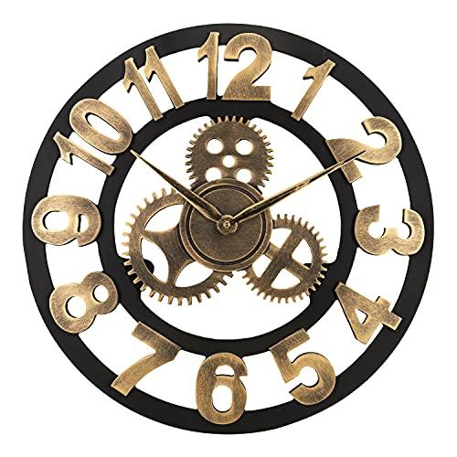Lafocuse 45 cm Reloj de Pared Oro Engranaje Industrial Grande Salon Vintage...