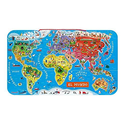 Janod - Puzzle magnético Mapa del Mundo en madera- 92 piezas magnéticas - 70 x...
