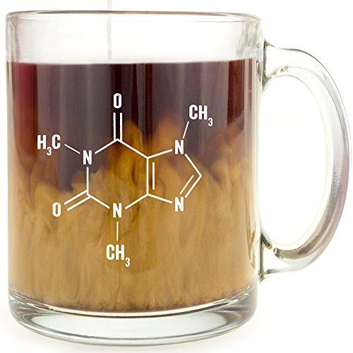 Taza de café de cristal con molécula de cafeína, es un gran regalo por debajo...