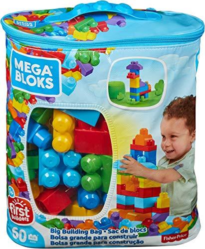 Mega Bloks Bolsa clásica con 60 bloques de construcción, juguetes bebés 1...
