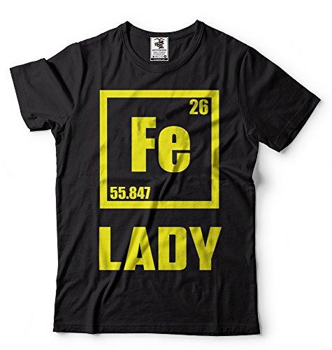 La camiseta para una mujer Química: La Dama de Hierro. Símbolo Químico.