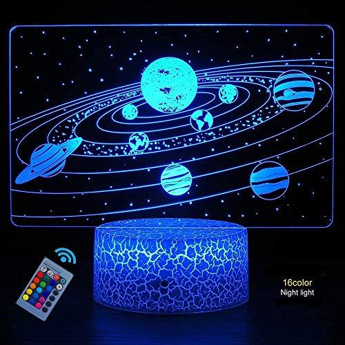 Creativo 3D Planeta Estrella Luz de Noche Control Remoto 16 Colores que Cambian...