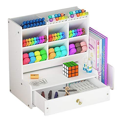 Organizador de escritorio blanco, gran capacidad DIY caja de soporte para...
