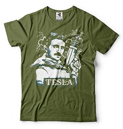 Silk Road Tees Nikola Tesla Camiseta de los Hombres de Tesla con el Arma...