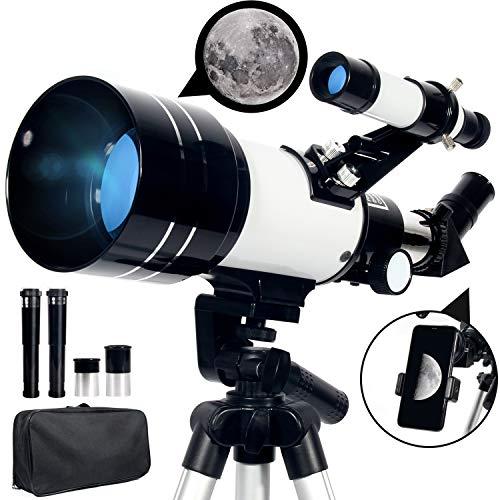 Upchase Telescopio Astronomico, 70/300/mm Refractor Telescopio, Portátil y...