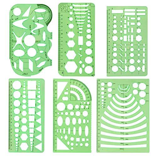 6 Piezas Plantillas de Dibujo Plastico Regla Círculos Ovalado Curva Plantillas...