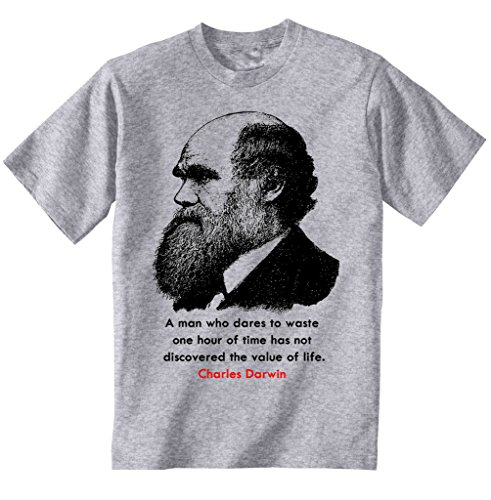 teesquare1st Darwin Charles 1 Camiseta Gris para Hombre de Algodon Size Xxxlarge
