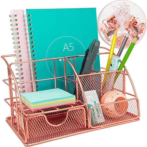 Organizador de escritorio multiusos con cajón, metal oro rosa, para oficina...