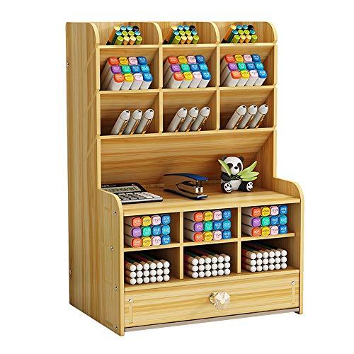 Organizador de madera con cajón para escritorio, soporte para bolígrafos,...