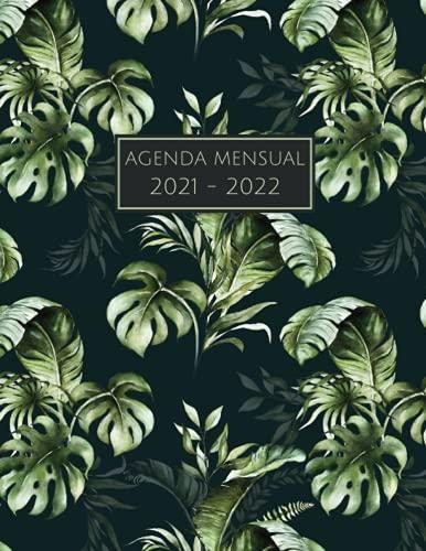 Agenda Mensual 2021 - 2022: planificador mensual - diseño tropical - año...