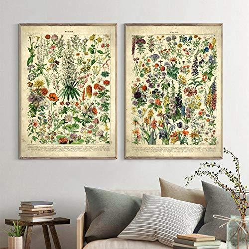 WKAQM Francés Flor Fleurs Lienzo Pintura Vintage Poster Y Impresiones Botánico...